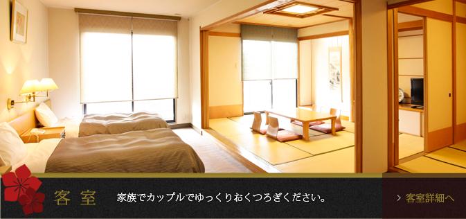 客室 家族でカップルでゆっくりおくつろぎください。
